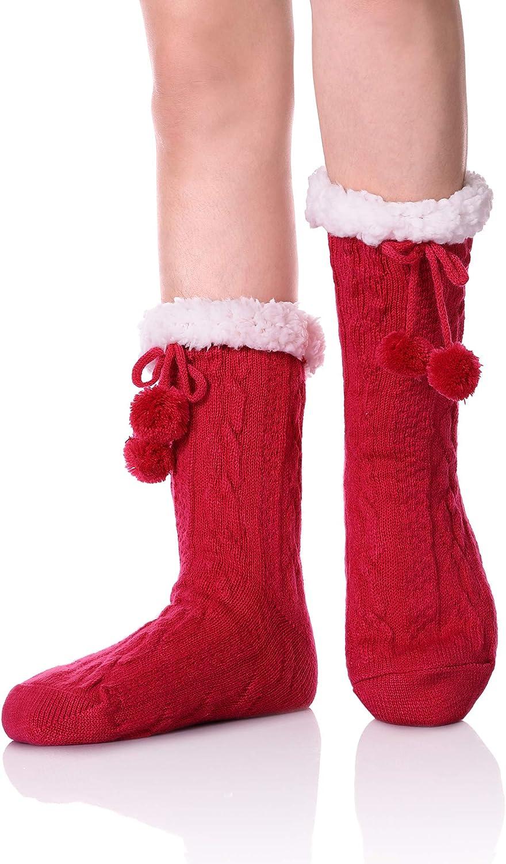 KAKAYAO Womens Girls Fuzzy Non-Slip Slipper Socks Fleece-Lined Knit Winter Soft Fluffy Christmas Stockings Thermal Socks