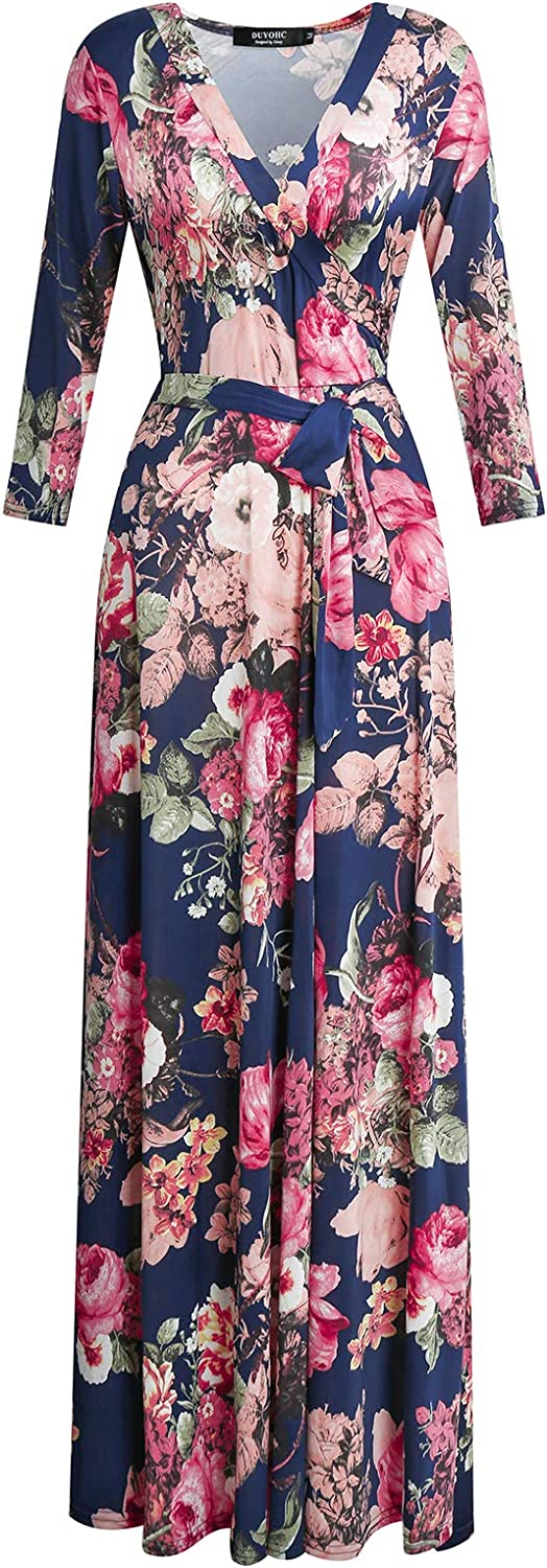 DUYOHC Womens 3/4 Sleeve Stretchy Floral Printed Faux Wrap Maxi Long Dresses with Belt