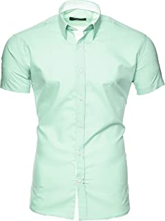 Kayhan Camisas Hombres Camisa Hombre Manga Corta Ropa Camisas de Vestir Slim fácil de Hierro Fit S M L XL XXL-6XL - Modell...