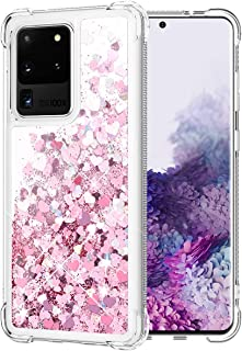 Caka Glitter Case for Galaxy S20 Ultra Case Bling Liquid Sparkle Fashion Flowing Shining Quicksand Soft TPU Bumper Cushion Clear Women Girls Case for Galaxy S20 Ultra 6.9 inches (Rose Gold)