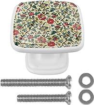 4 Packs Kabinet Deurknoppen met schroeven,Vierkante lade handvat voor kast lade kast kast meubels bloemen rood