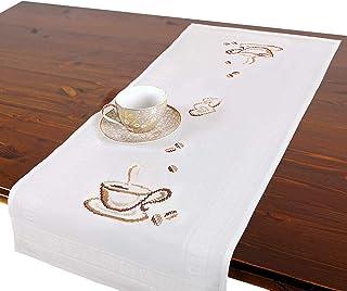Kit de broderie CAFÉ, chemin de table, kit complet avec nappe pré-dessinée à broder, kit de broderie avec patron de broder...