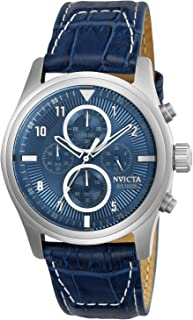 Invicta Men's Aviator Stainless Steel Quartz Watch with Leather Calfskin Strap, Blue, 24 (Model: 22977)