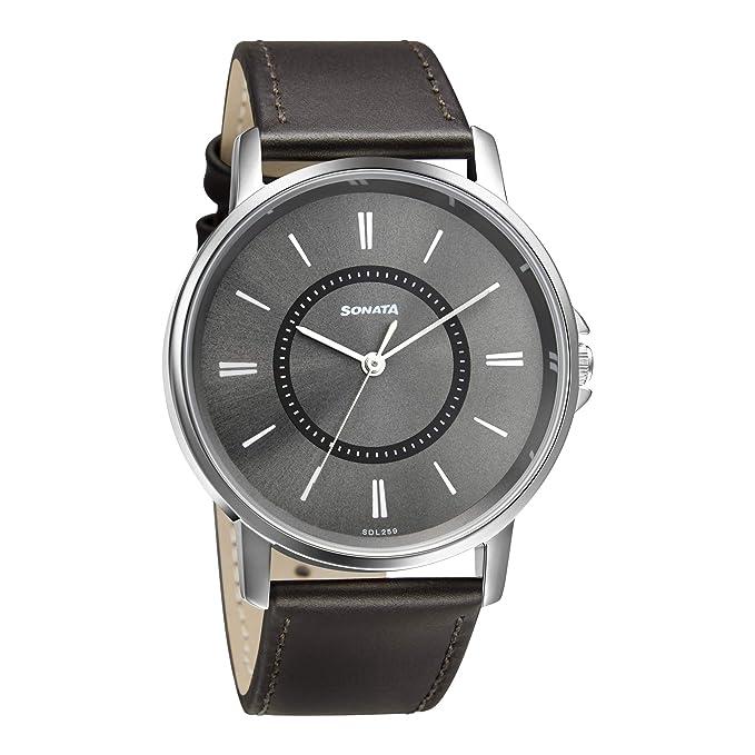 Sonata Analog Grey Dial Men's Watch 77083SL06W