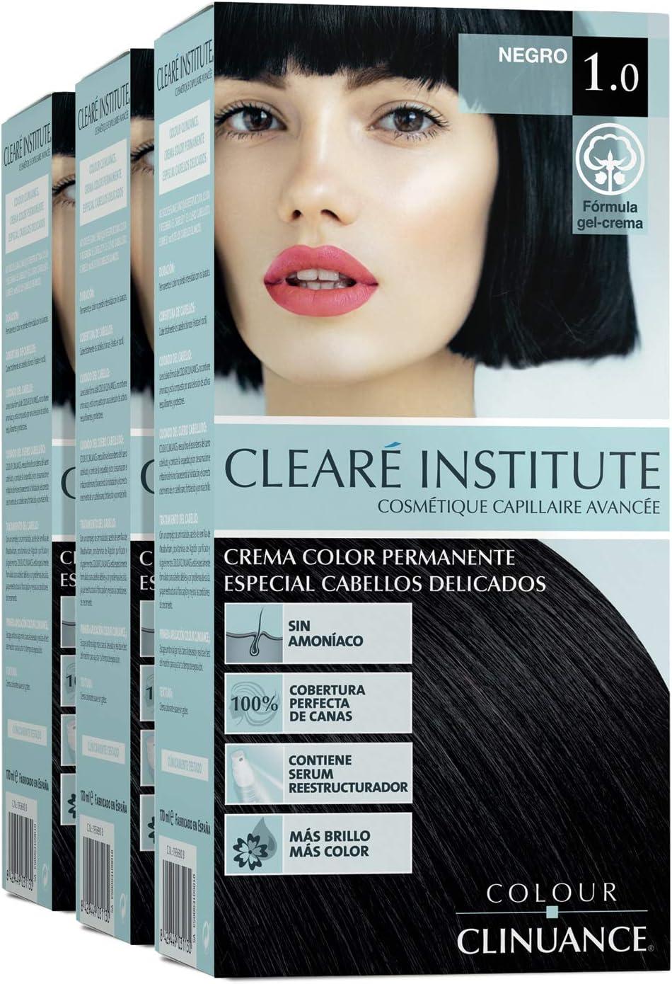 Colour Clinuance. Tinte Capilar Cabellos Delicados. 1.0 Negro, Coloración Permanente Sin Amoniaco, Más Brillo, Color Intenso, 100% Cobertura, Testado Dermatologicamente, Pack de 3
