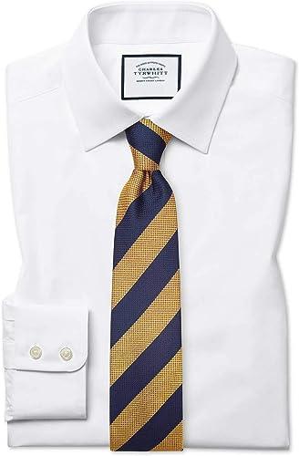 Chemise blanche en popeline de coton égypcravaten coupe droite