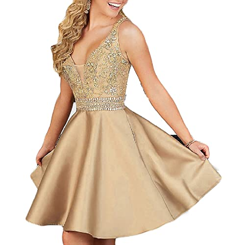f9fc5a11ae1 QSYE Women s a line Satin Homecoming Dresses with Beadings Short V Neck Prom  Party Gowns H014