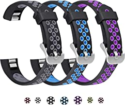 SKYLET Compatible with Fitbit Ace/Fitbit Alta Hr Bands, 3 Pack Soft Breathable Sport Wristbands Compatible with Fitbit Alta Kids Band Men Women(Black-Gray, Black-Blue, Black-Purple Small)