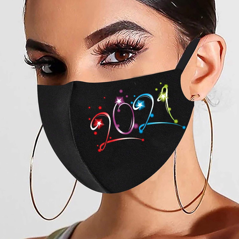 Snlaevx Erwachsene Eisseide Mundschutz Schwarz Neujahr 2021 Drucken Face Cover Waschbar Gesichtsbedeckung Mund und Nasenschutz Freien Staubdicht Winddicht