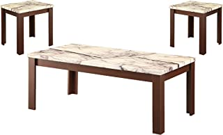Acme 3 Piece Carly Coffee/End Table Set, Faux Marble & Cherry