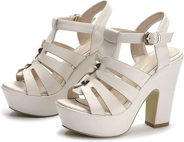WANabcMAN Comfortable Women's High Heels Soft Material Solid Buckle Open Toe Sandals