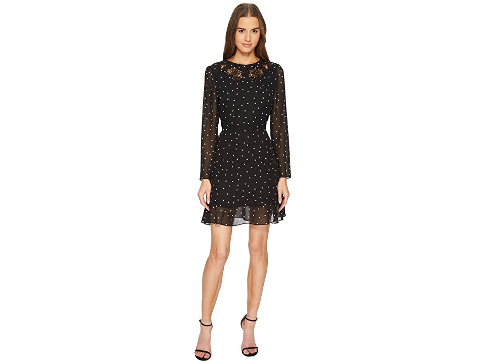 The Kooples China Crepe Dress with A Queen of Hearts Print (Black) Women