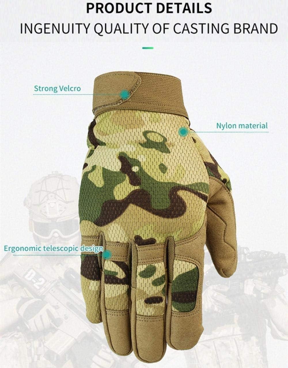 ANBF Guanti Tattici per Esterni in Nylon Uomo Camouflage Indossare Guanti per Resistenze per Ciclismo Sportivo Militare Guanti da Dito Color : ArmyGreen, Size : Small