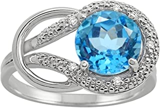 Blue Topaz and Diamond Love Knot Ring in 10K White Gold