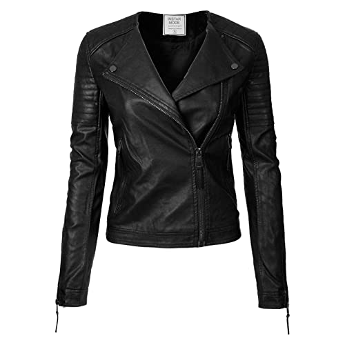 f93742d5d2f Instar Mode Women's Long Sleeve Zipper Closure Moto Biker Faux Leather/Suede  Jacket