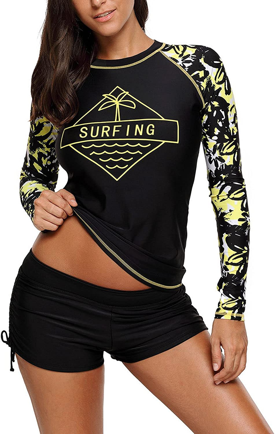 EVALESS Women's Long Sleeve Sun Predection Splice Rashguard Swim Shirt Tops(SXXXL)