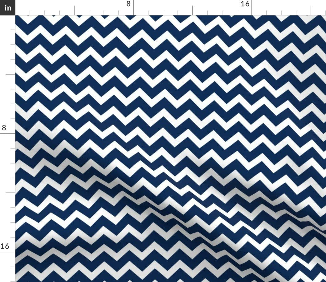 Spoonflower Fabric - 再入荷 予約販売 Navy Chevron Modern 再入荷/予約販売! Stripes Out Blue Zigzag