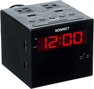 Sonnet Alarm Clock Charging Station, AM FM Radio, Dual USB Charging Ports, Dual AC Outlets, Perfect for Side Table, Desk, ...