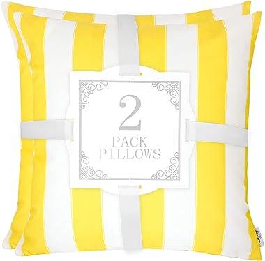 Homy Cozy 7H5241-YELLOW-1818-2PK Accent Pillow, Yellow