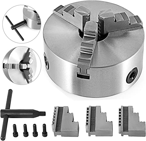 Mophorn K11-200 Lathe Chuck 8 Inch 3-jaw,Lathe Chuck Self Centering Reversible Hardened Steel With Internal and External 2 Set Jaws