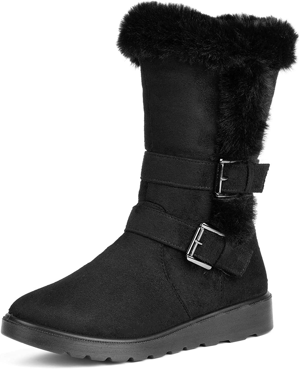 Solacozy Girls Snow Boots Womens Faux Fur Winter Boots Suede Snow Booties Classic Winter Shoes Outdoor Walking Shoes Slip-ons Botas De Invierno Para Mujer