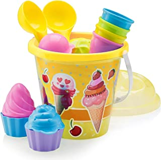 """Top Race Beach Toys, Sand Toys, 16 Piece Ice Cream Mold Set for Kids 3-10 with Large 9"""" Beach Toy Bucket Pail for Kids and..."""