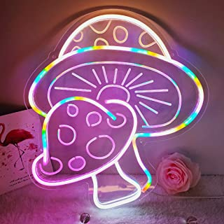 DIVATLA Mushroom Neon Sign with 3D Art,Powed by USB Neon Mushroom Sign. Colorful Neon Sign Mushroom with Dimmable Switch (...