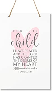"""LifeSong Milestones for This Child I Have Prayed Owl Wall Decor Decorations Hanging Signs for Kids, Bedroom, Nursery, Baby Boys and Girls Room Size 8"""" x 12"""" (Pink)"""