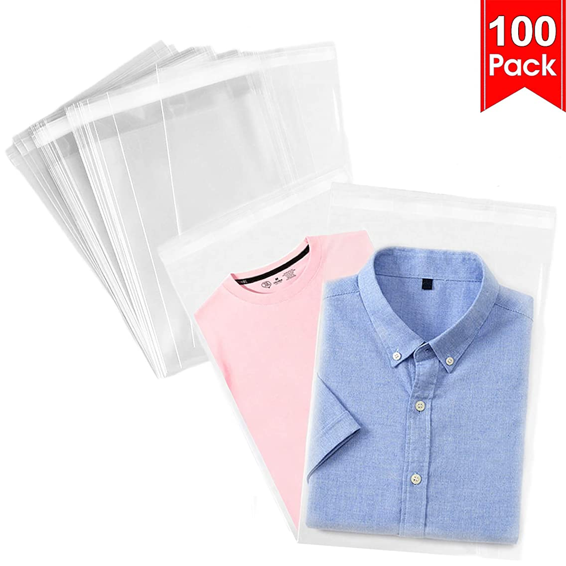 100 Pcs 11x15 Clear Resealable Cello Bags Tape Strip on Lip Glossy Self Sealing OPP Polypropylene Plastic Bags for Decorative Christmas Wedding Gift Basket Supplies(11x15 inches)