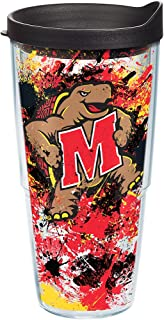 Tervis Maryland Terrapins Splatter Tumbler with Wrap and Black Lid 24oz, Clear