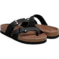 Nanasbeauty Women's Flat Cork Sandals (Black)