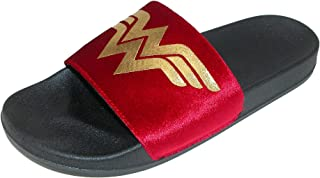 Wonder Woman Adult Gold Foil Logo Suede Slide Sandals Small
