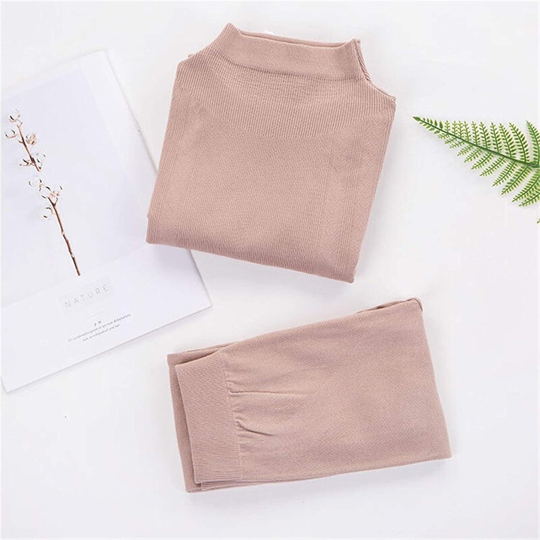 DZHT Turtleneck Inner Wear for Women Thermal Underwear Woman Set Warm Autumn Body Warmer Shaper Body Women's Cotton (Color : Khaki, Size : (40 70kg))