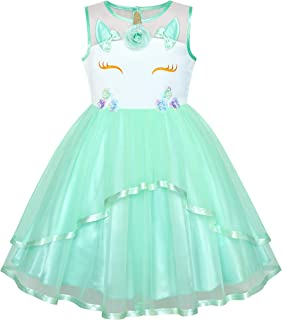 2269ac2e Sunny Fashion Flower Girls Dress Blue Belted Wedding Party Bridesmaid Age  4-12 Years