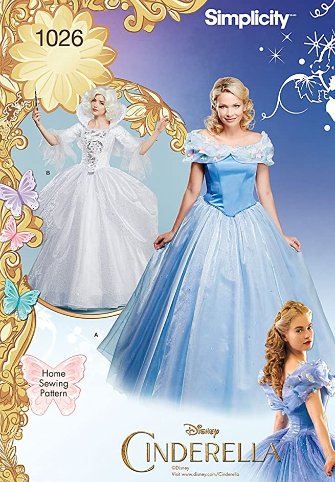 Simplicity Disney's Cinderella and Fairey God Mother Halloween Costume Sewing Pattern for Women, Sizes 6-14