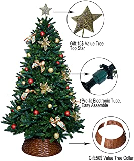 ABUSA 7.5 ft Multicolor PE Mixed Pine Christmas Tree Prelit 600 UL Warm White Strawberry LED String Lights Metal Stand