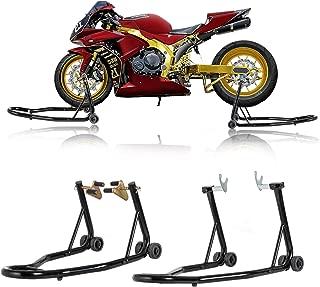 SUNCOO Pair Motorcycle Stands Front & Rear Wheel Lift Stand Set Paddock W/Swingarm Fork Spool Lift for Honda Yamaha BMW Motorbike Sport Bike Maintenance, Black