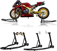 SUNCOO Pair Motorcycle Stands Front & Rear Wheel Lift Stand Set Paddock W/Swingarm Fork Spool Lift for Honda Yamaha BMW Motorbike Sport Bike Maintenance, Black
