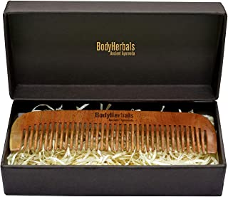 BodyHerbals Dressing Comb, Anti Static Eco Friendly, Classic, 100% Natural Neem Wood, Hand Made with design in Box ( Cream )