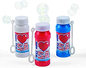 Patriotic USA Bubble Bottles (1 dozeon) Summer Fun, July 4th, Parade Giveaways, Party Favor Supplies, Includes Wand, 2oz