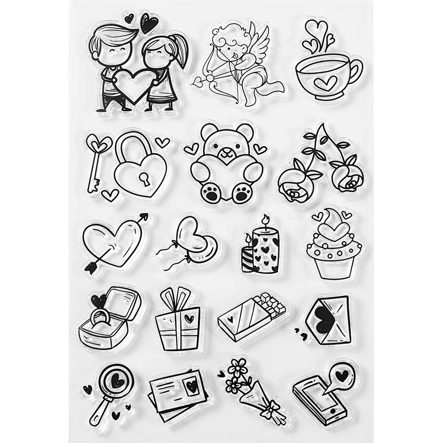 MaGuo Love Theme Clear Stamps Fall in Love for DIY Scrapbooking Photo Album Card Making Decorative