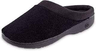 isotoner Women's Terry and Satin Slip on Cushioned Slipper with Memory Foam for Indoor/Outdoor Comfort Flat Sandals