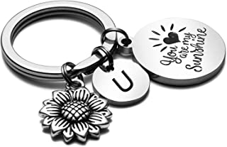 Sunflower Gifts for Women Initial Charm Keychain Key Ring Bracelets Wristlet Sunflower Car Accessories