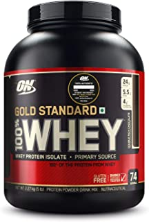 Optimum Nutrition (ON) Gold Standard 100% Whey Protein Powder - 5 lbs, 2.27 kg (Double Rich Chocolate), Primary Source Iso...