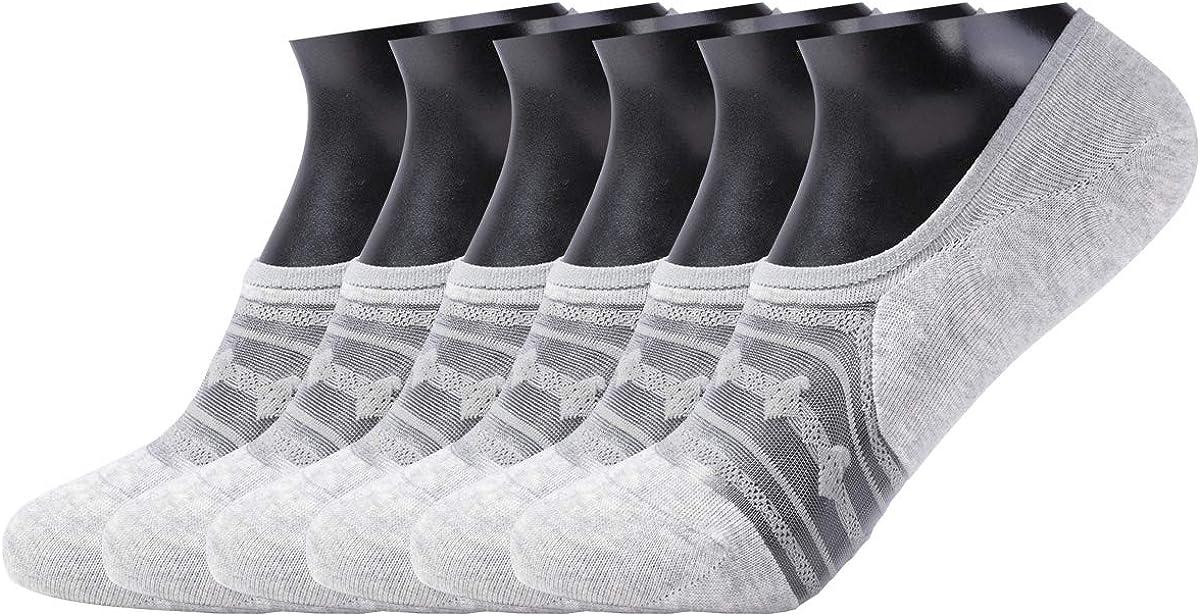 Enerear 6 Pack Women's Lace Cotton No Show Socks Flat Boat Line Socks
