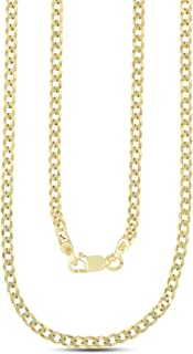 14K Yellow Gold Plated Silver 3mm-16mm Cuban Curb Chain | 925 Italian Chain | So