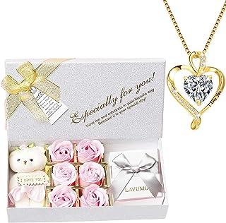 LAVUMO Collares Mujer Amor Colgante de Corazón Oro Rosa Plata de Ley 925 Collares de Mujer,Joyas Regalos para Esposa, Mam...
