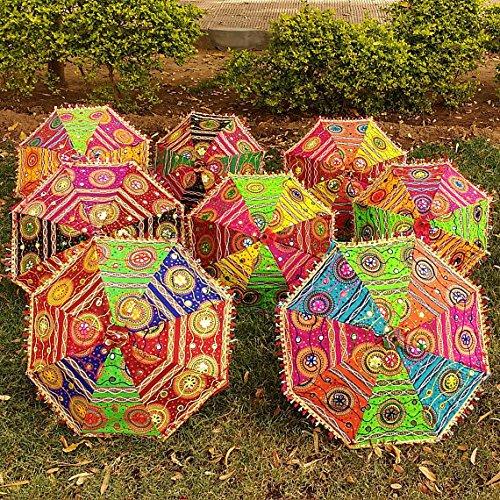 CRAFTOFPINKCITY 5PCS Viel Indische Baumwolle Stoff Mirror Work Vintage Sonnenschirme Hochzeit Regenschirm Outdoor Dekorationen Handgefertigt Stickerei Ethnic Regenschirm Sonnenschirm