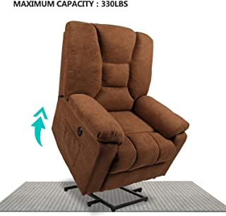 Aoxun Electric Power Lift Recliner Chair Sofa with Massage and Heating for Elderly and Pregnant Woman, USB Charging&Remote Control Linen Lounge(Coffee)