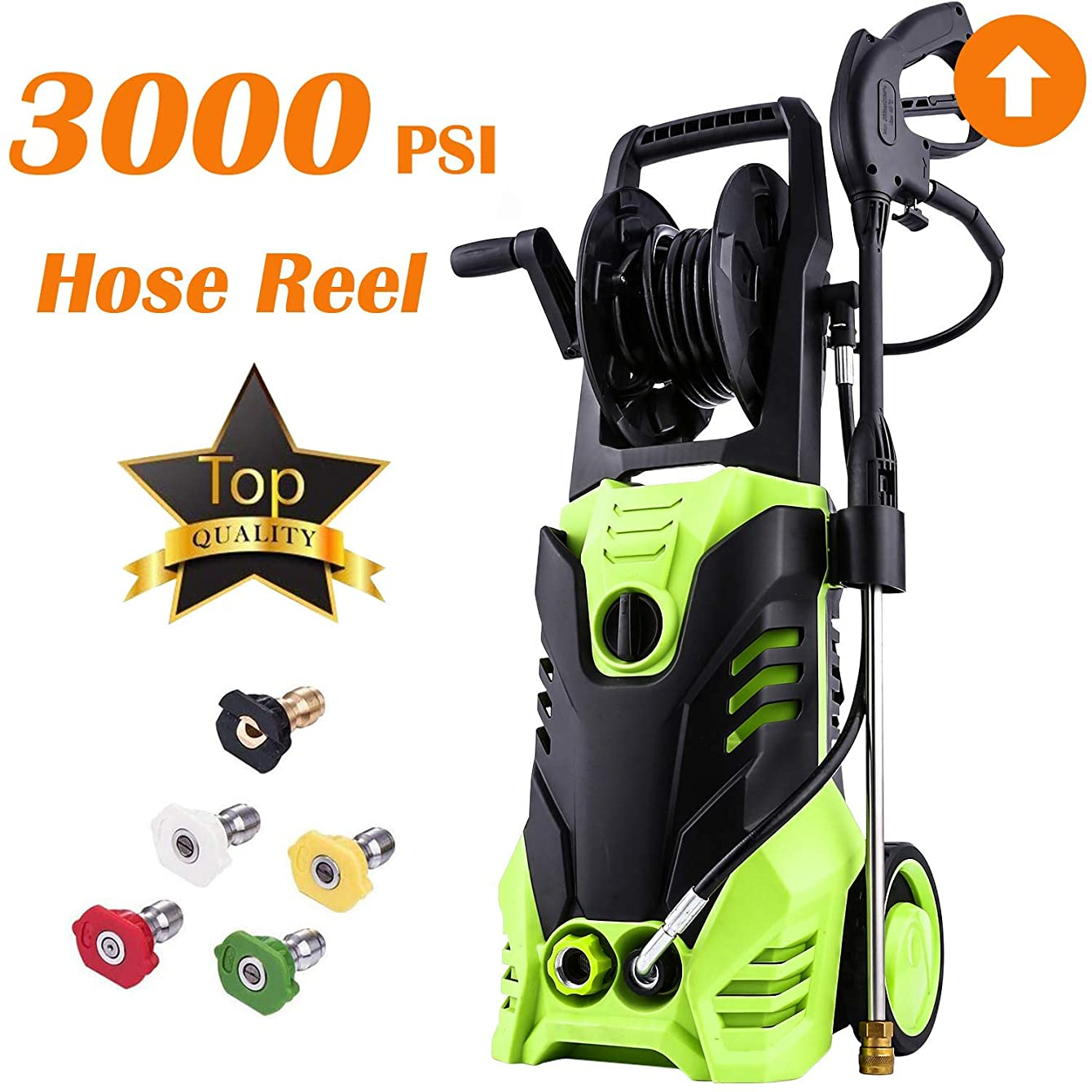 Homdox Electric High Pressure Washer 3000PSI, 1.8GPM Power Pressure Washer Machine with Power Hose Gun Turbo Wand 5 Interchangeable Nozzles (Light Green)